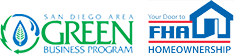san diego area green business program logo and FHA logo